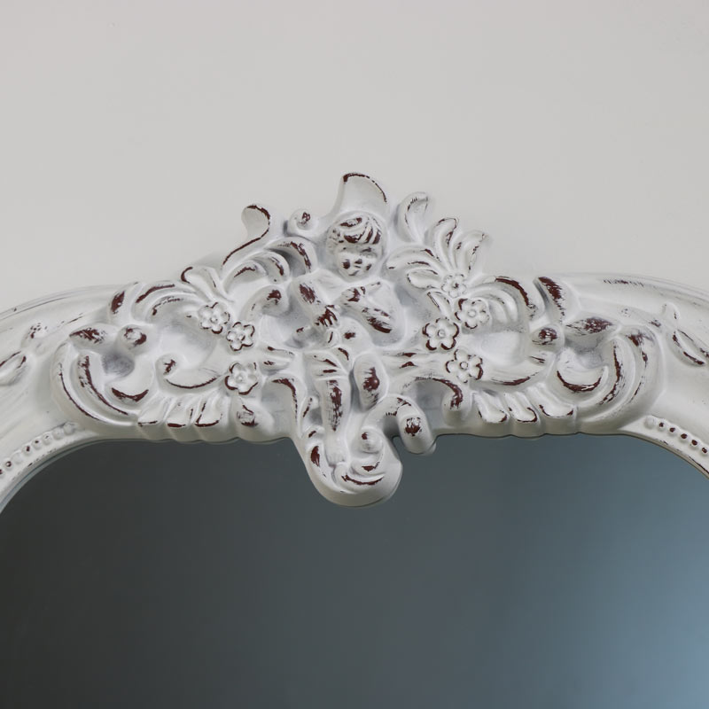 Ornate White Overmantel Wall Mirror 66cm x 93cm