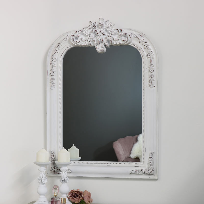 77eb2e5341d0 Ornate White Overmantel Wall Mirror 66cm x 93cm - Melody Maison®