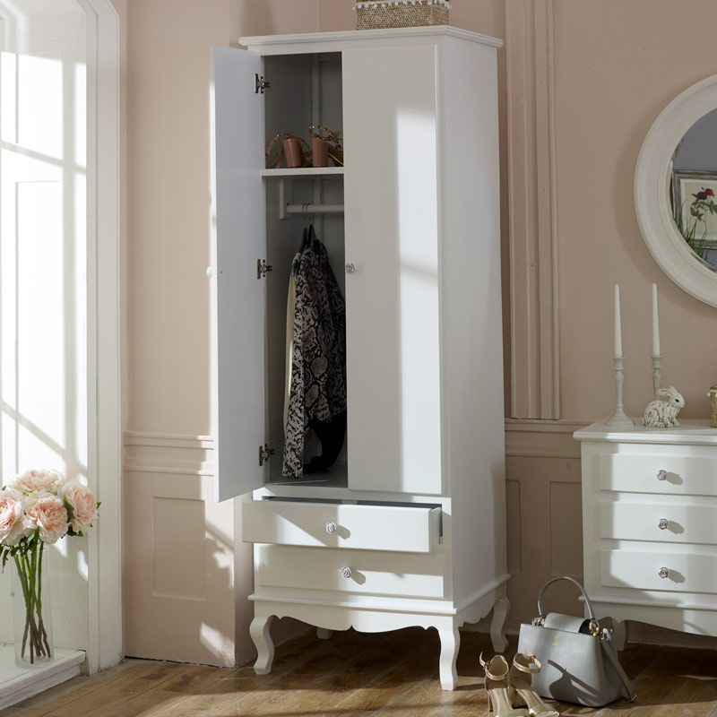Ornate White Vintage Slim White Double Wardrobe Lila