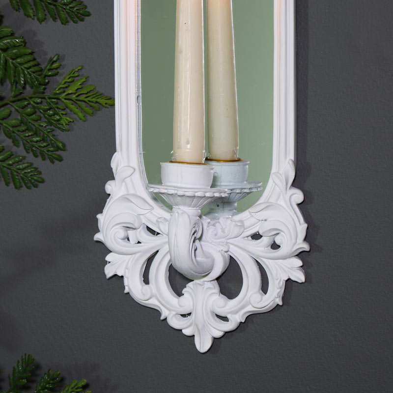 Ornate White Wall Mirror Candle Sconce