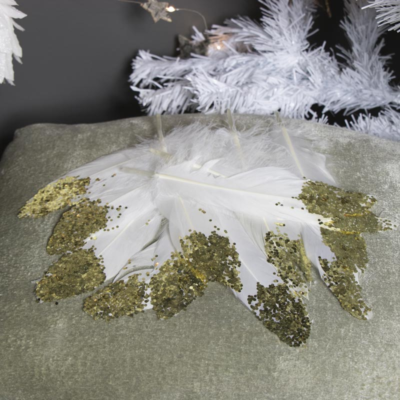 Pack of 12 Cream Feathers with Gold Tips