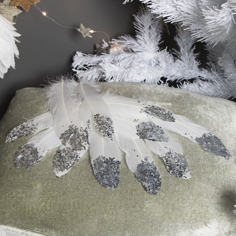 Pack of 12 Cream Feathers with Silver Tips