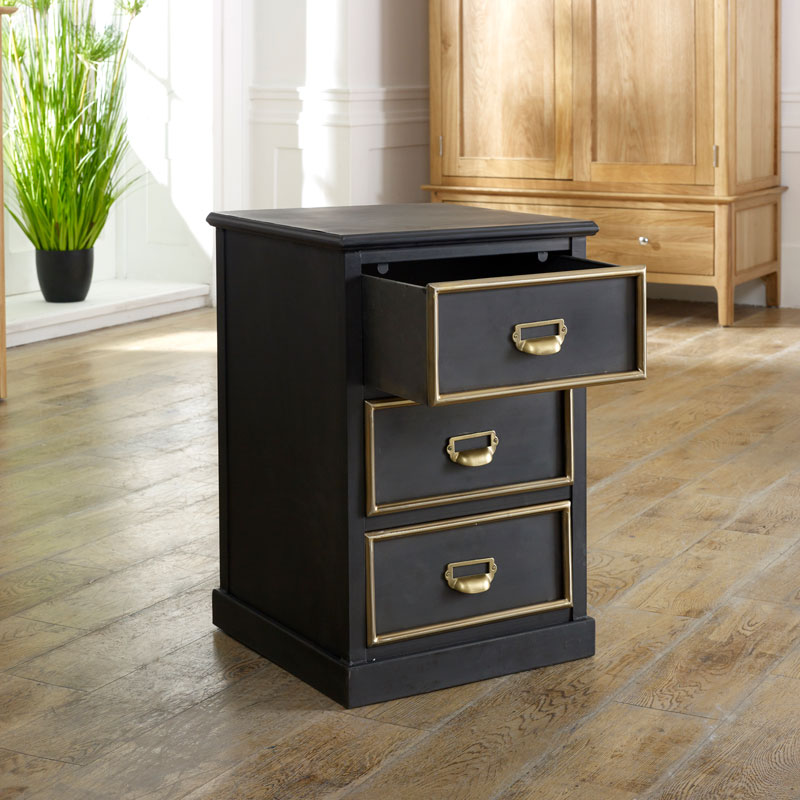 Pair Black Bedside Tables - Seattle Range