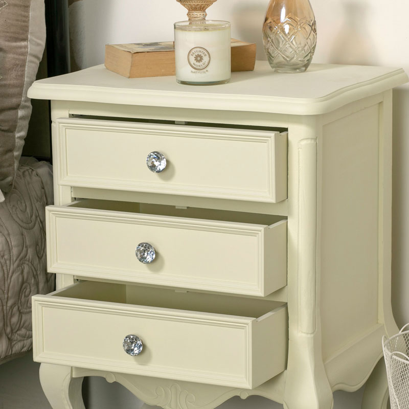 Pair of 3 Drawer Bedside Tables - Elise Cream Range