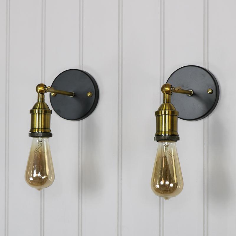 Pair of Adjustable Retro Brass Wall Lights