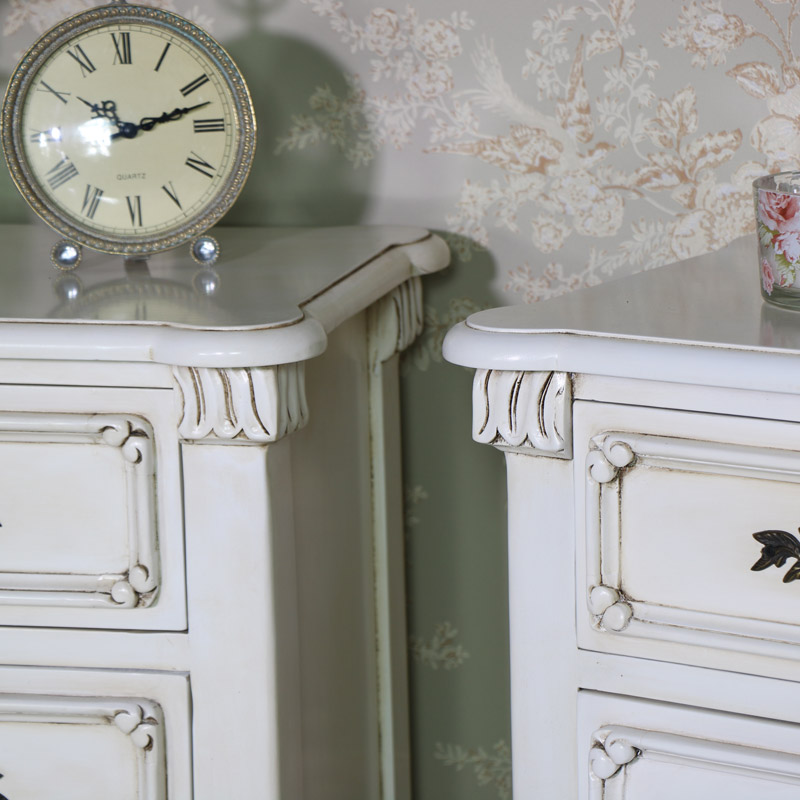Pair of Ornate Cream Bedside Chests - Limoges Range