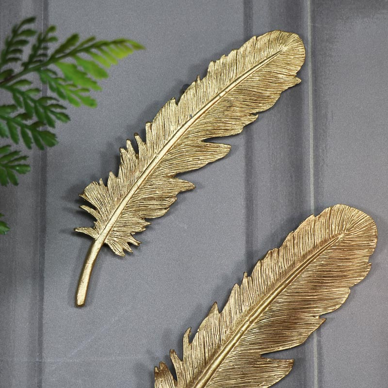 Pair of Antique Gold Feather Wall Art Decorations