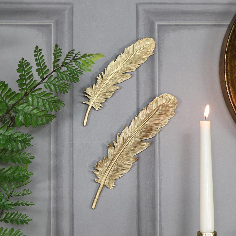 Pair of antique gold feather wall art decorations melody for Art decoration home