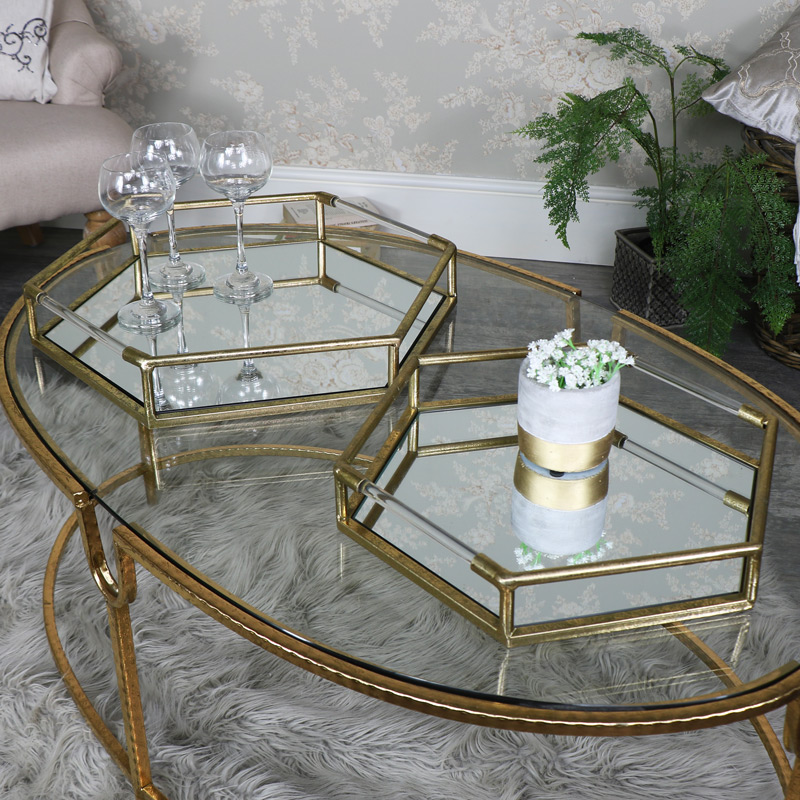 Pair of Antique Gold Hexagonal Mirrored Cocktail Trays