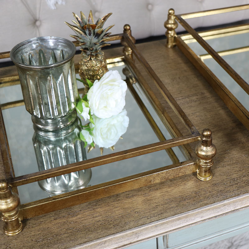Pair of Antique Gold Mirrored Cocktail Trays