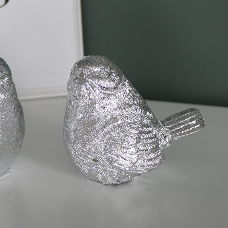 Pair of Antique Silver Bird Ornaments