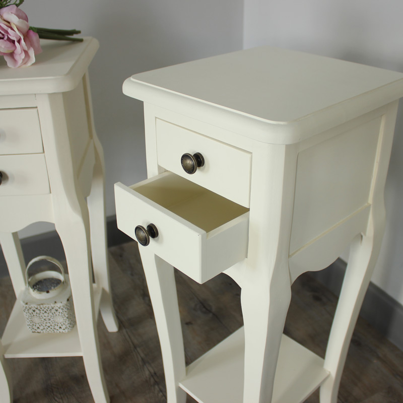 Pair of cream slim 2 bedside tables shabby vintage chic for Skinny dressing table
