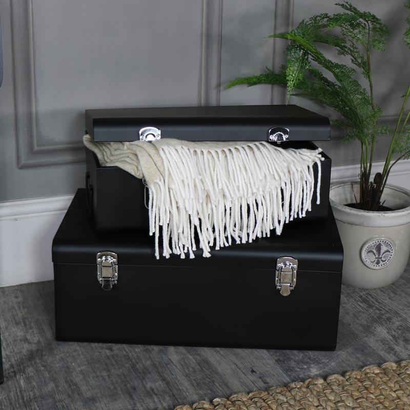 Pair Of Black Metal Trunks Cases Bedroom Clothing Towel Blanket Storage Set  Two
