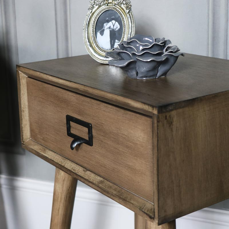 Pair of Brown Wooden Retro Style 1 Drawer Bedside Tables - Brixham Range