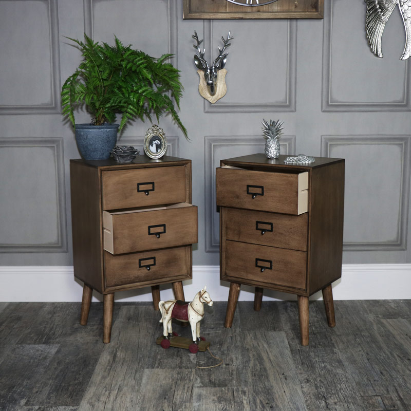 Pair of Brown Wooden Retro Style 3 Drawer Bedside Chests - Brixham Range