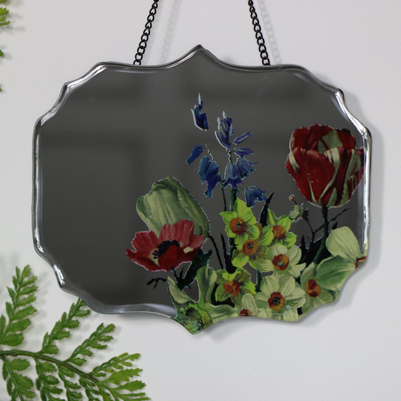 Pair of Decorative Floral Wall Mirrors