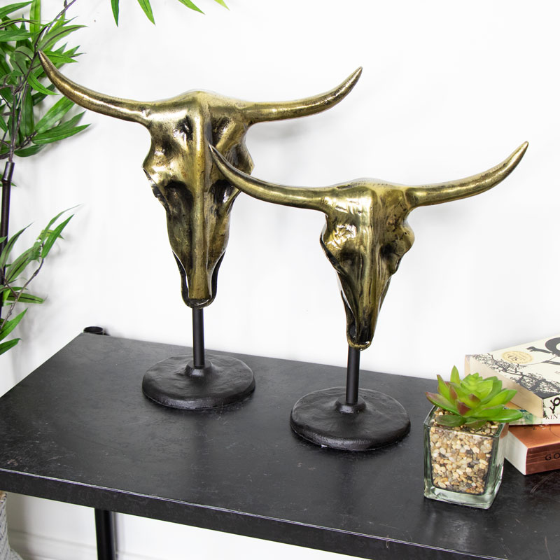 Pair of Distressed, Decorative, Bronze Buffalo Skulls