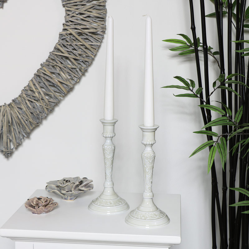 Pair of Embossed Grey Metal Candlesticks