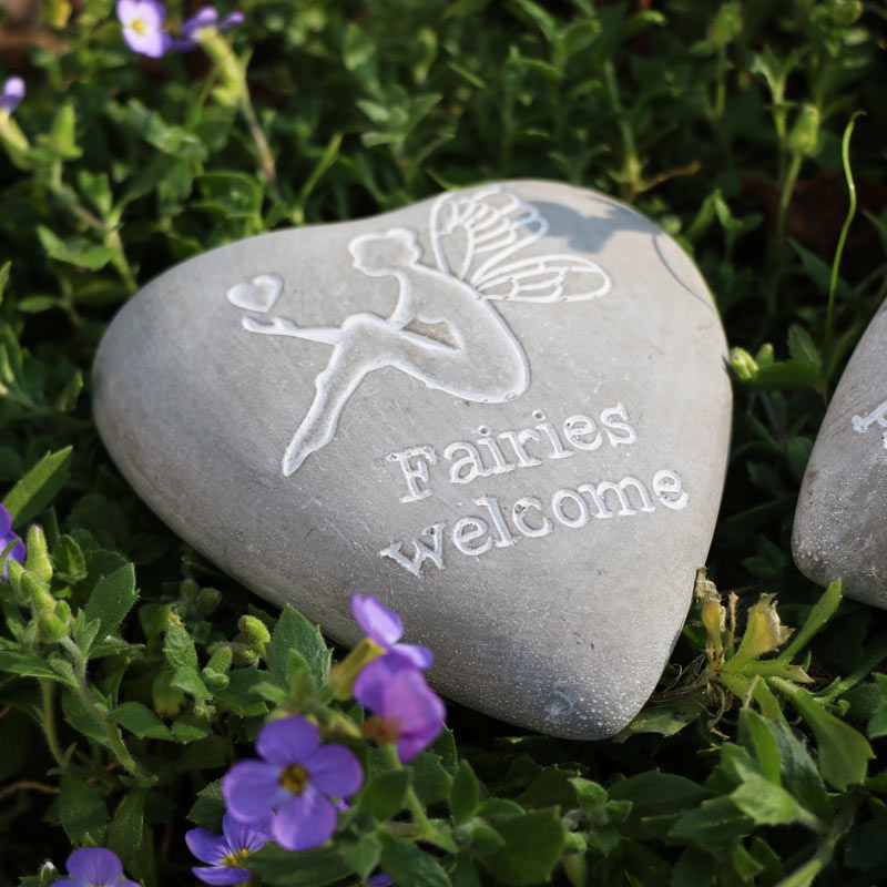 Pair of Fairy Heart Engraved Pebbles