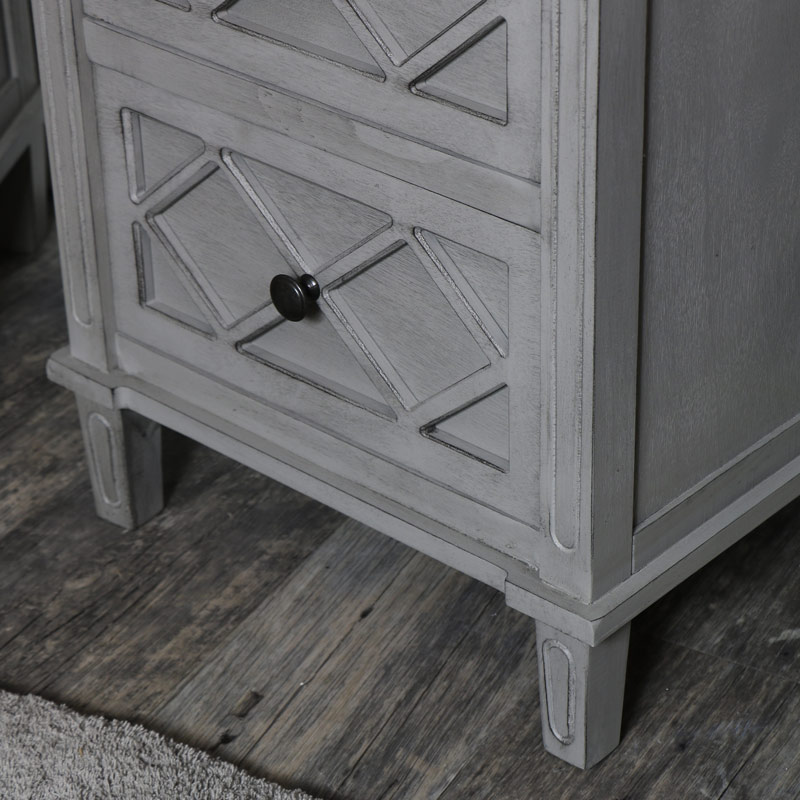 Pair of Grey Bedside Table / Chests - Venice Range