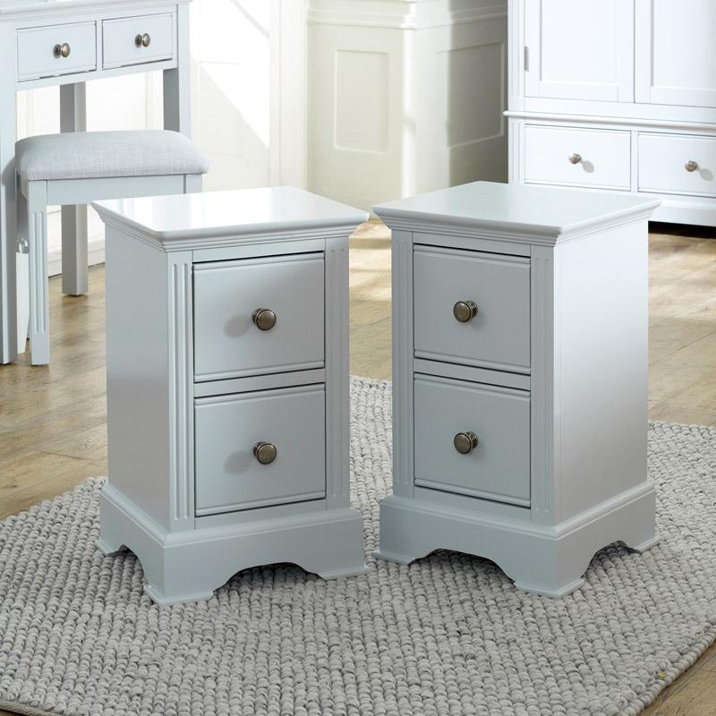 Pair of Grey Bedside Tables - Davenport Grey Range
