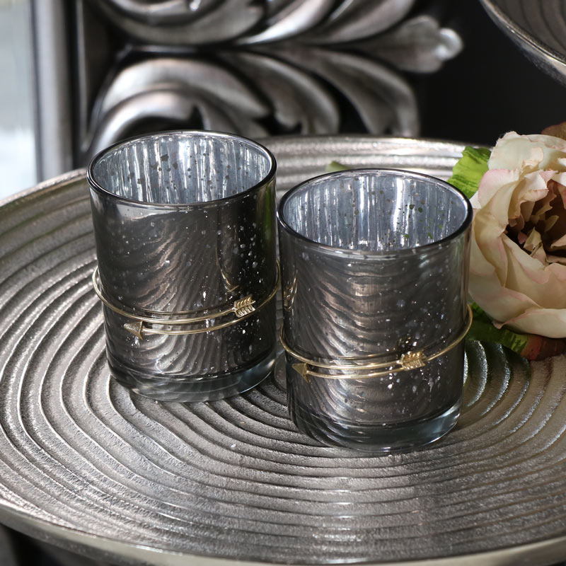 Pair of Grey Glass Tealight Candle Holders