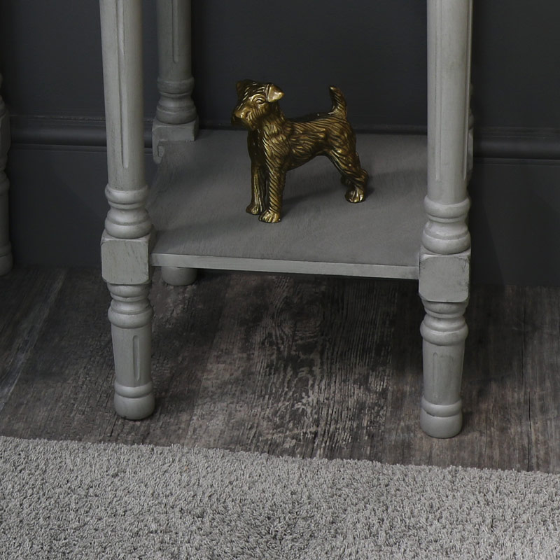 Pair of Grey Mirrored 1 Drawer Bedside/Lamp Table - Vienna Range