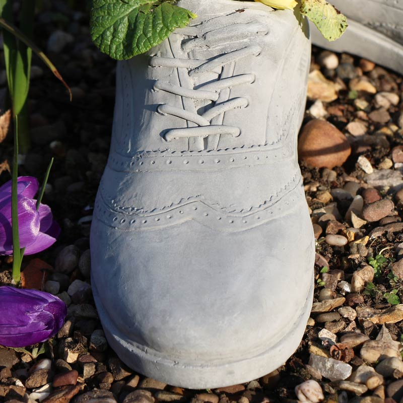 Pair of Grey Stone Shoe Planters