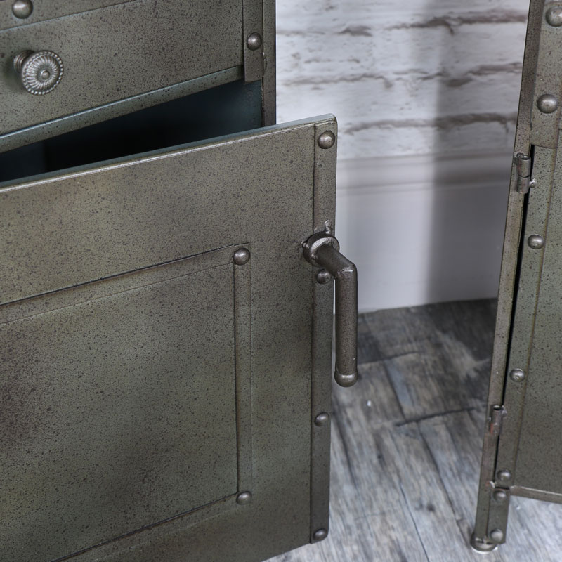 Pair of Industrial Style Metal Bedside Cabinets