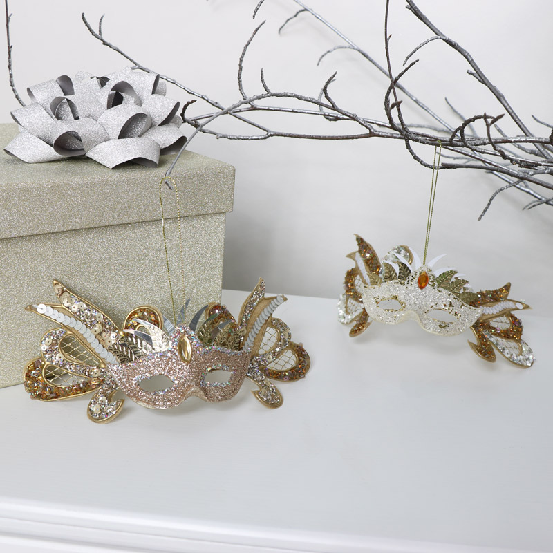 Pair of Jewelled Masquerade Masks Christmas Ornaments