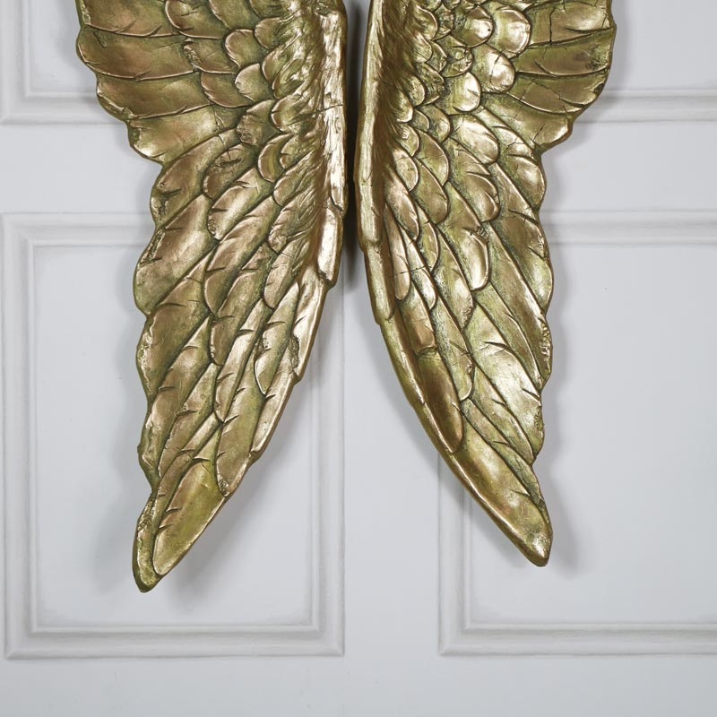 Pair of Large Antique Gold Angel Wings