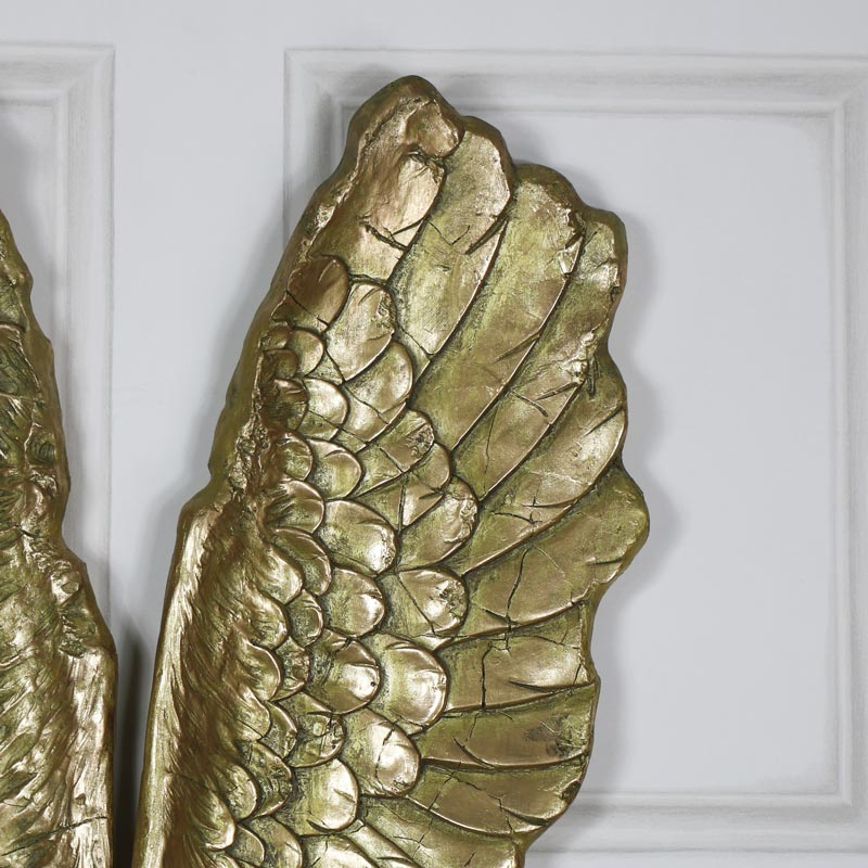 Pair Of Large Antique Gold Angel Wings Melody Maison 174