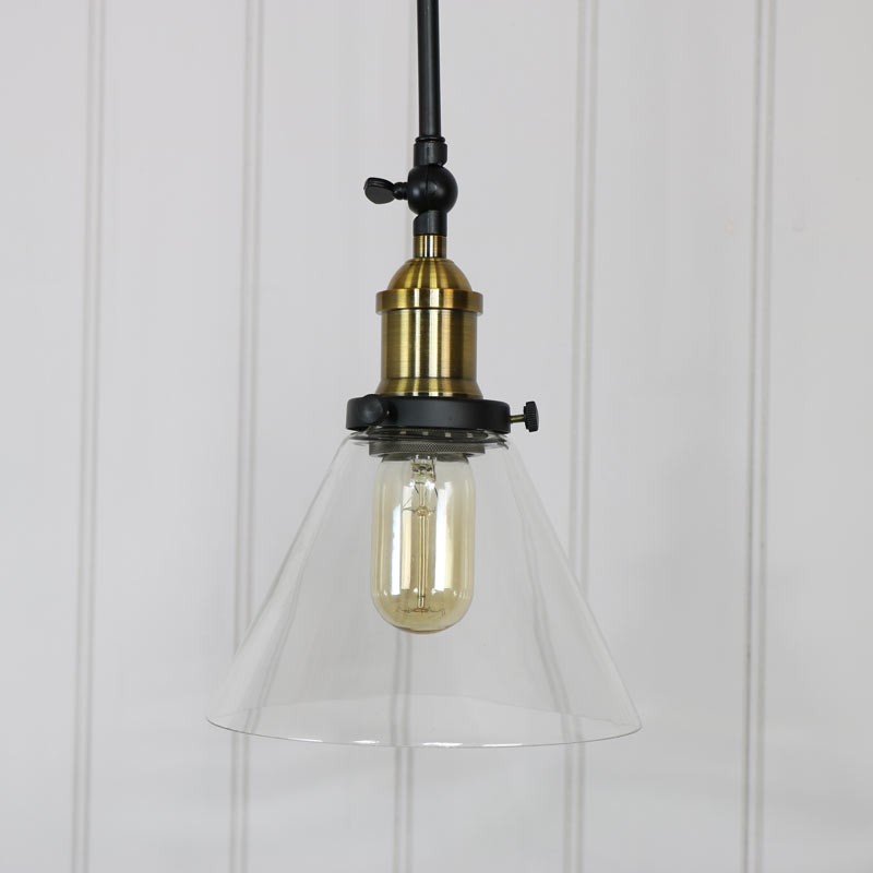 Industrial Wall Light Shades: Pair Of Long Arm Industrial Wall Lights With Glass Shade