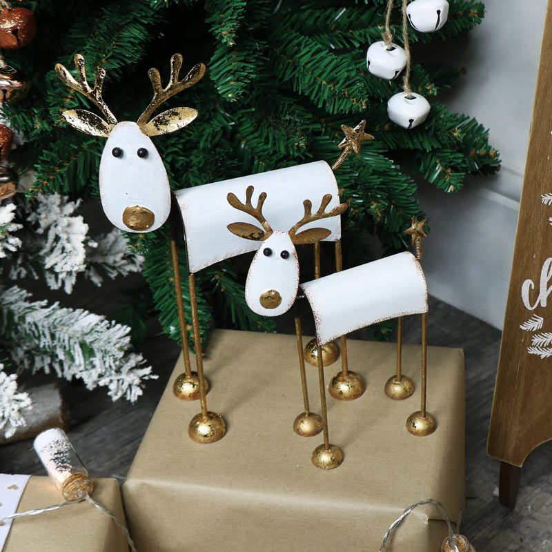 Pair of Metal Reindeer Christmas Ornaments