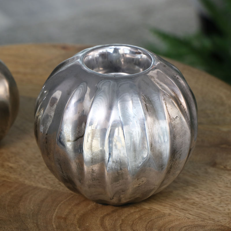 Metallic Silver Tealight Holders