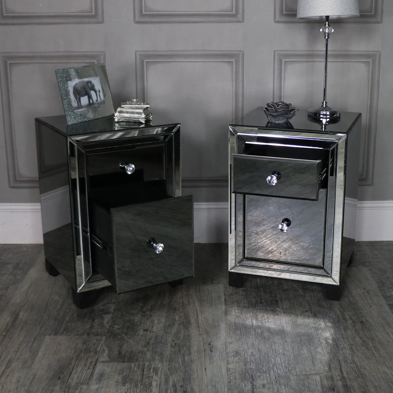 Pair of Mirrored Bedside Chests - Verona Range