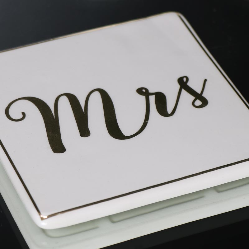 Pair of Mr & Mrs White Ceramic Coasters
