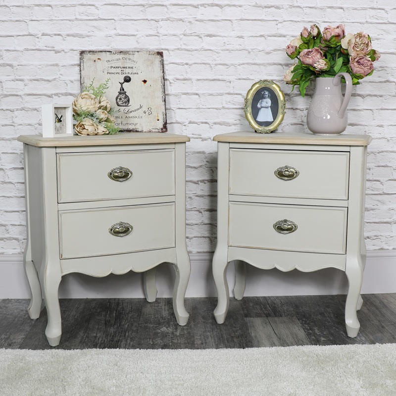 Pair of Ornate 2 Drawer Bedside Chest - Albi Range