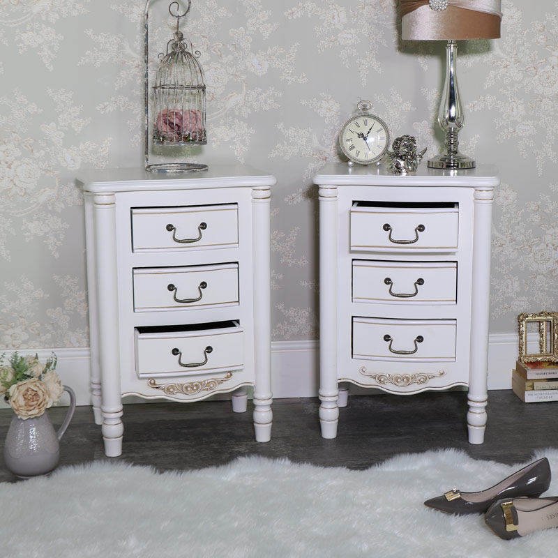 Pair of Ornate Cream 3 Drawer Bedside Chests - Adelise Range