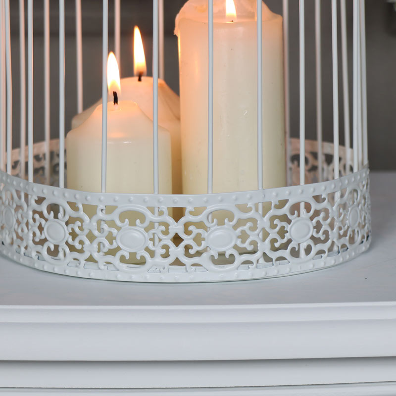 Pair of Ornate White Birdcage Lantern Candle Holder