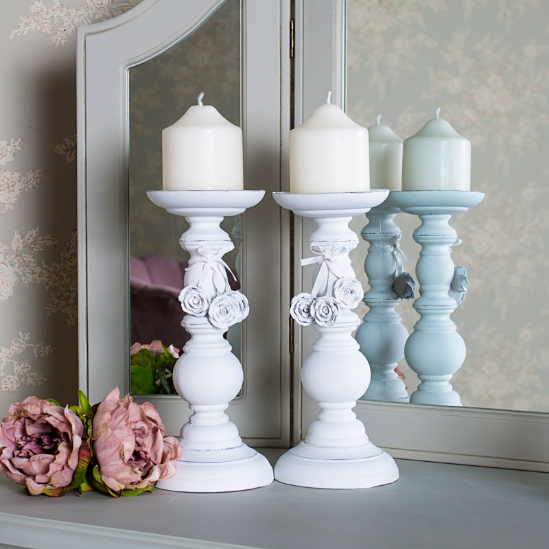 Pair of Ornate White Rose Candle Holders