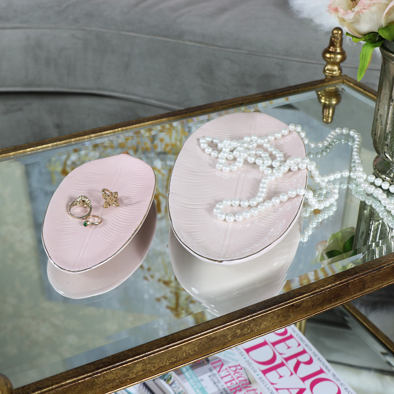 Pair of Pink Feather Trinket Dishes