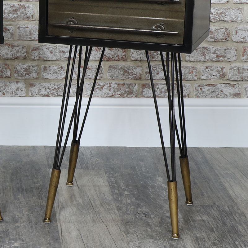 Set of 2 Retro Industrial Drawer Metal Bedside Tables