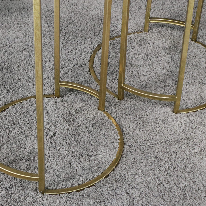 Round Gold & Black Glass Nested Tables