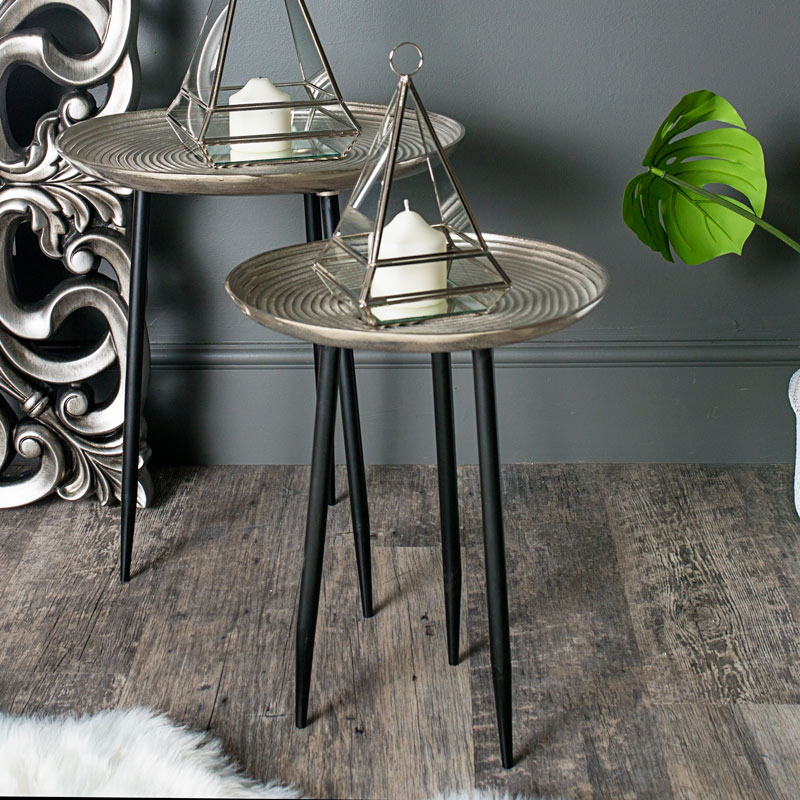 Pair of Round Silver Side/ Occasional Tables