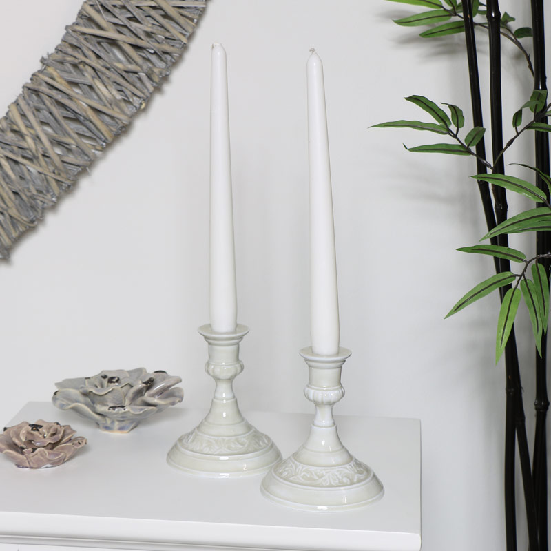 Pair of Short Embossed Grey Candlesticks
