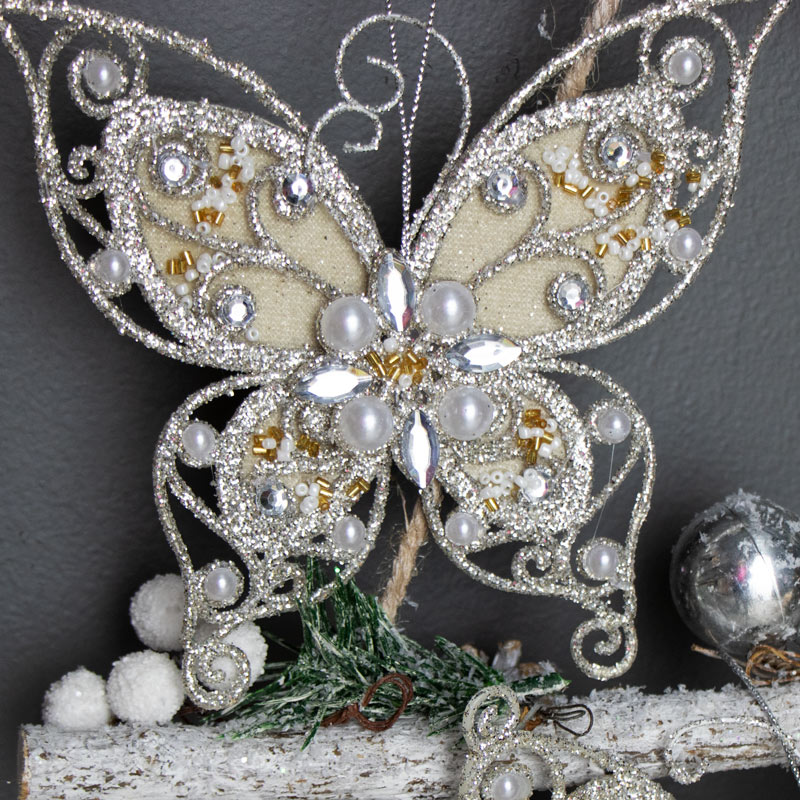 Pair of Silver Butterfly Christmas Tree Decorations