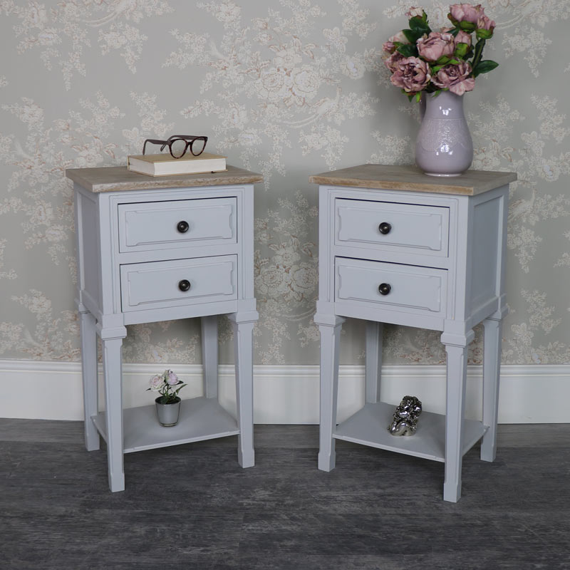 Pair of Slim Grey Bedside Lamp Table - Stanford Range