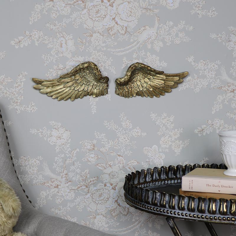 Gold resin wall art hanging angel wings shabby vintge chic for Angel wings wall decoration uk