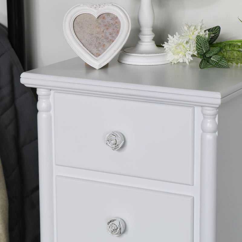 Pair of White 3 Drawer Bedside Chest - Lila Range